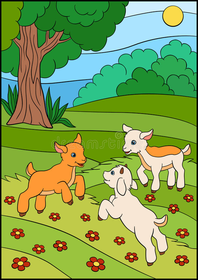 Tecknad filmlantgårddjur för ungar Litet gulligt behandla som ett barn geten på fältet stock illustrationer
