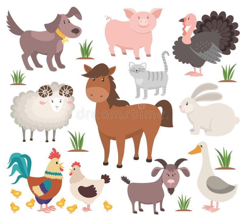 Tecknad filmlantgårddjur Häst för kanin för get för Turkiet kattRAM feg Djur samling för by vektor illustrationer