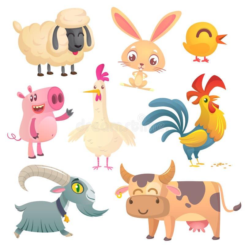 Tecknad filmlantgårddjur Vektorillustration av får, kaninkanin, höna, svinet, hönan, tuppen, geten och kon stock illustrationer