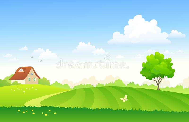 Tecknad filmlantgårdfält stock illustrationer