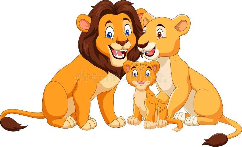 Tecknad filmlejonfamilj som isoleras på vit bakgrund royaltyfri illustrationer