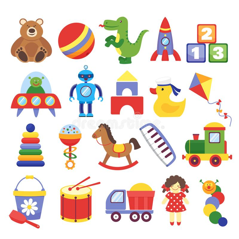 Tecknad filmleksaker Modig barns för raket för dinosaurie för leksaknallebjörn robot för drake för kuber Ungedockavektor stock illustrationer