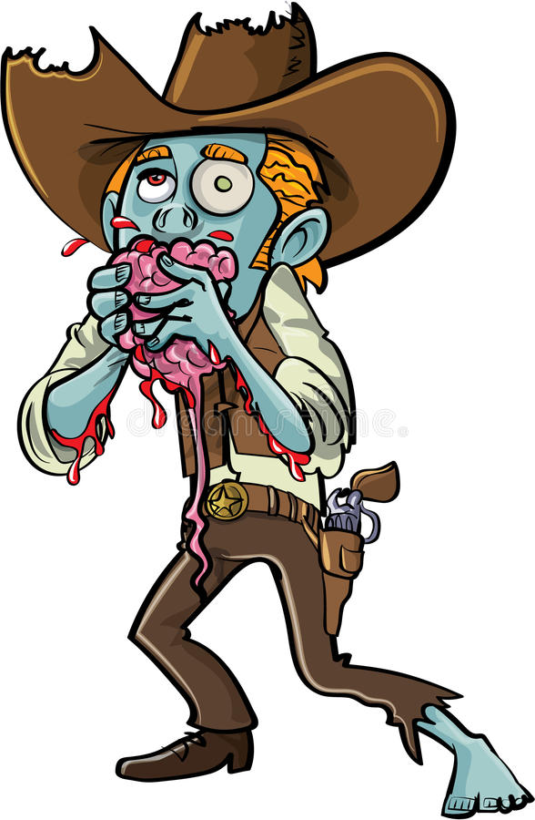Tecknad filmlevande dödcowboy som äter en hjärna stock illustrationer