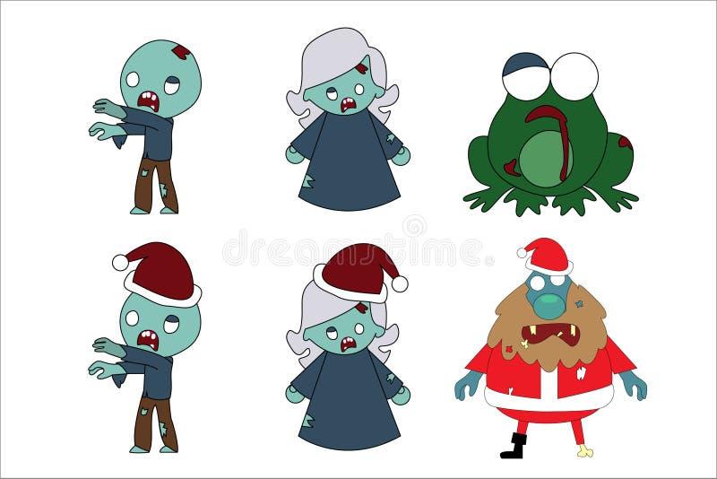 Tecknad filmlevande dödhalloween jul royaltyfri illustrationer