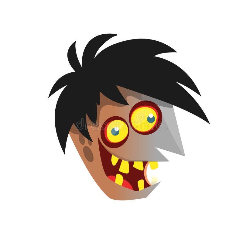 Tecknad filmlevande dödhuvud Halloween vektorillustration stock illustrationer
