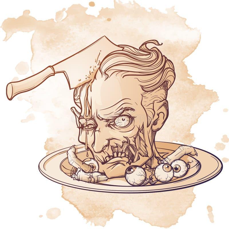 Tecknad filmlevande dödhuvudet tjänade som på en maträtt med ögonglober och fingrar Allhelgonaaftoncleepart Linjär skuggad teckni stock illustrationer