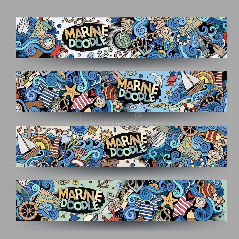 Tecknad filmlinje hand-drog marin- nautiska baner för konst vektor stock illustrationer