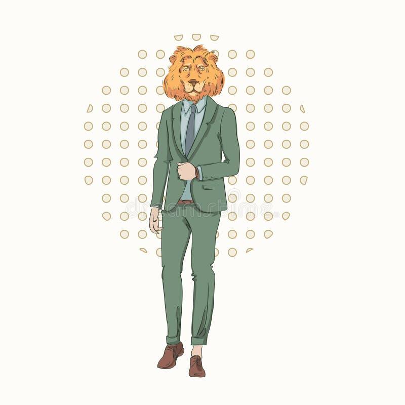 Tecknad filmLion Hipster Wear Fashion Suit Retro abstrakt bakgrund royaltyfri illustrationer