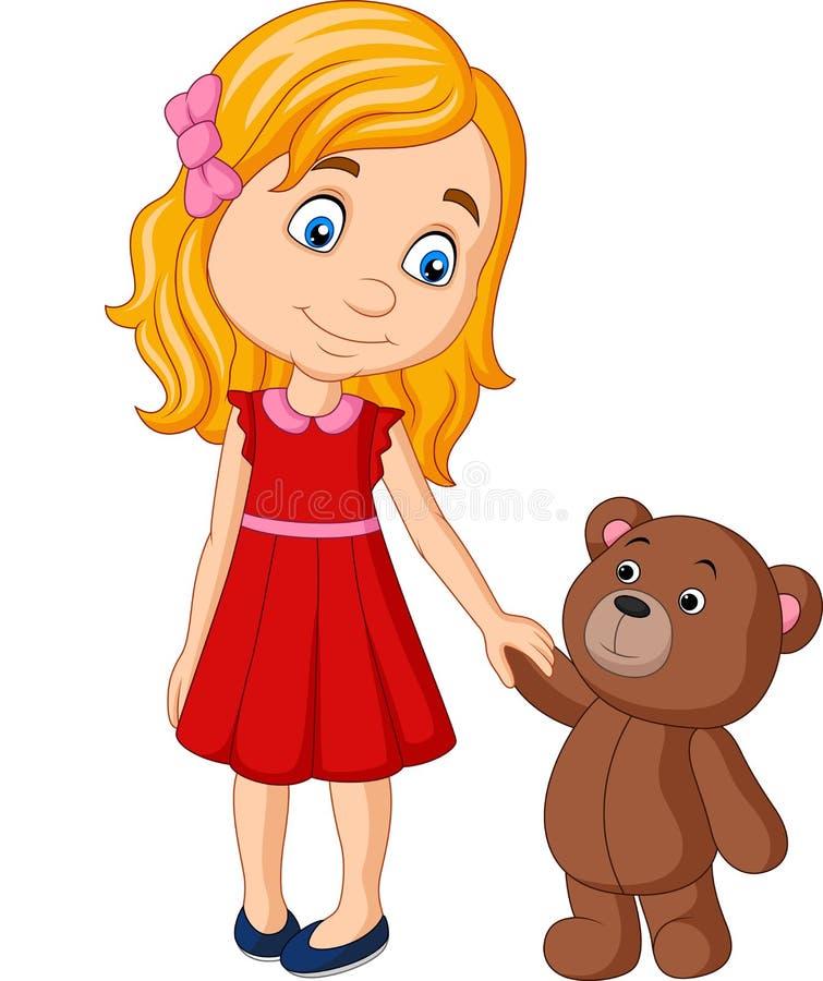 Tecknad filmliten flicka med handen för innehav för nallebjörn tillsammans vektor illustrationer
