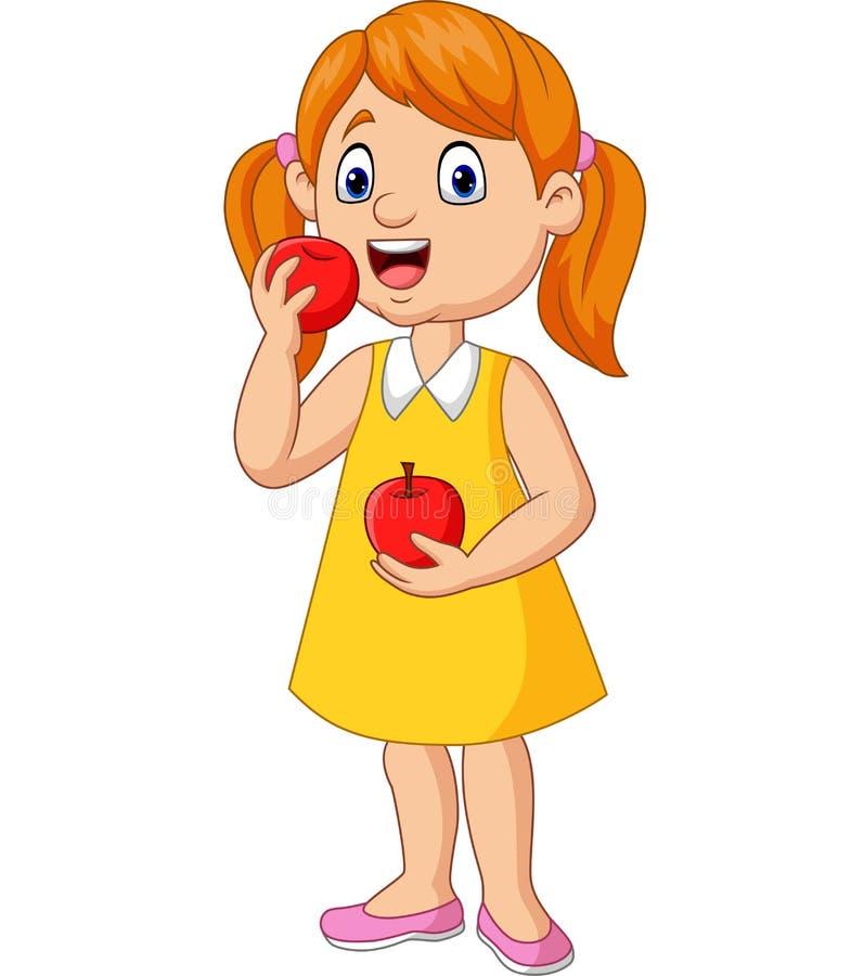 Tecknad filmliten flicka som äter äpplen royaltyfri illustrationer