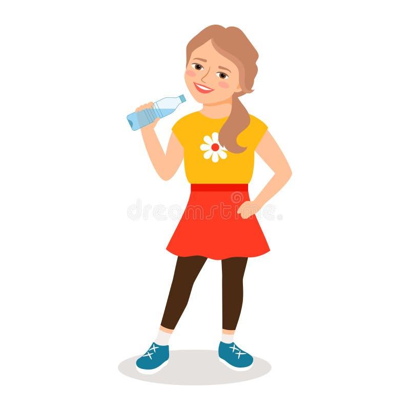 Tecknad filmliten flicka som dricker rent vatten stock illustrationer