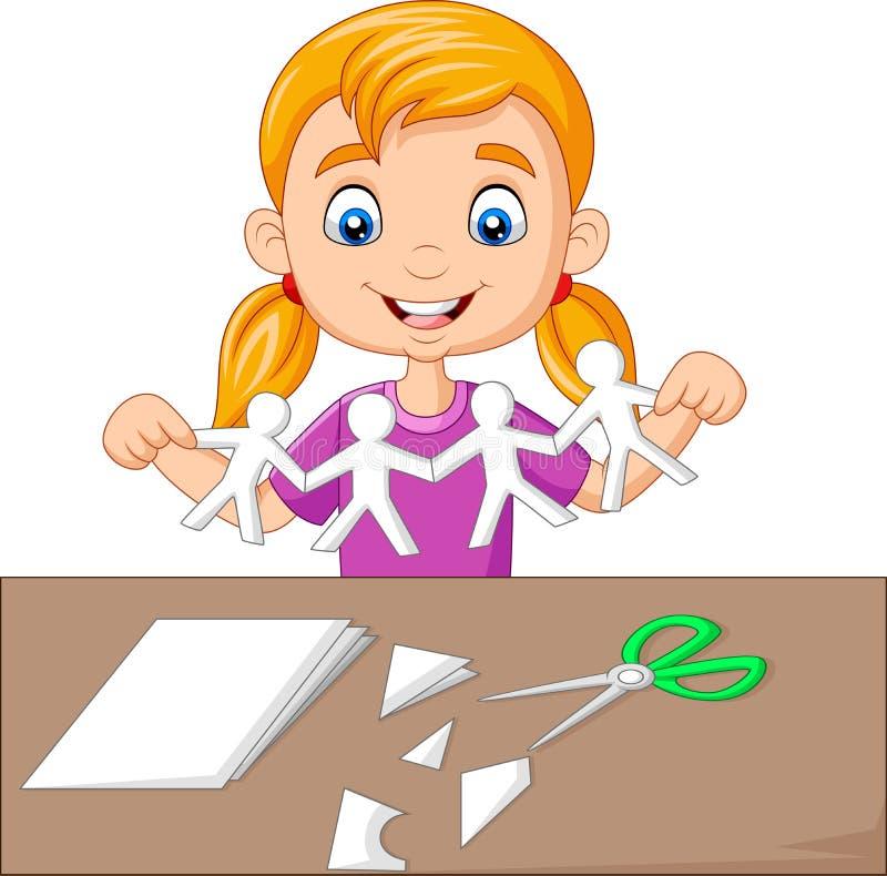 Tecknad filmliten flicka som gör pappers- folk stock illustrationer