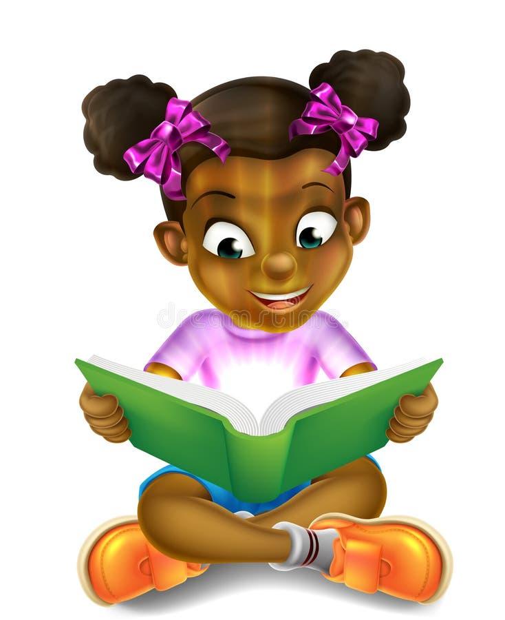 Tecknad filmliten flicka som läser den fantastiska boken royaltyfri illustrationer