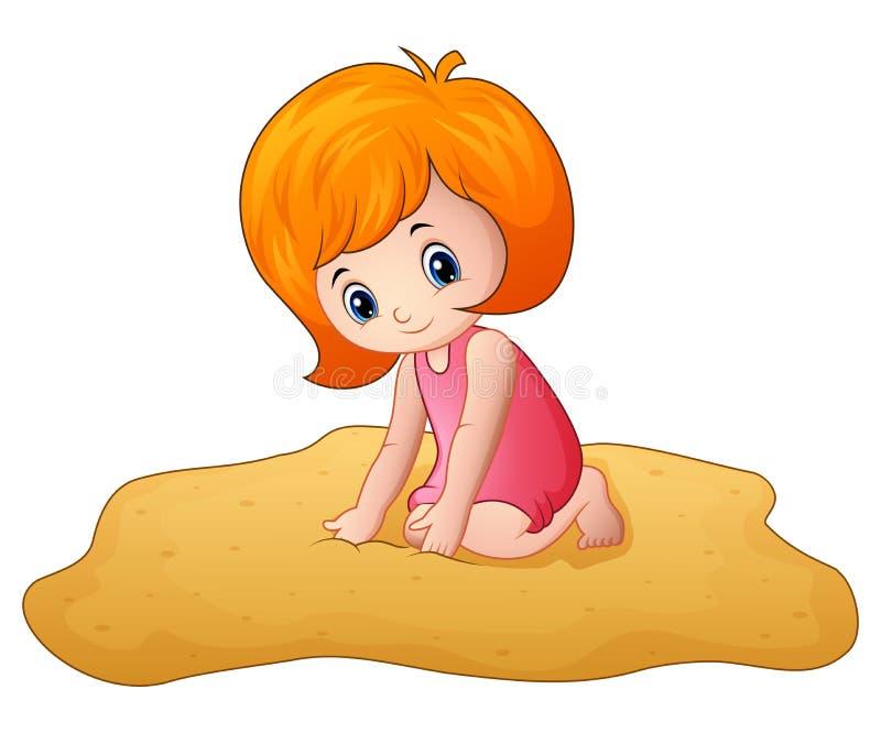Tecknad filmliten flicka som spelar en sand stock illustrationer
