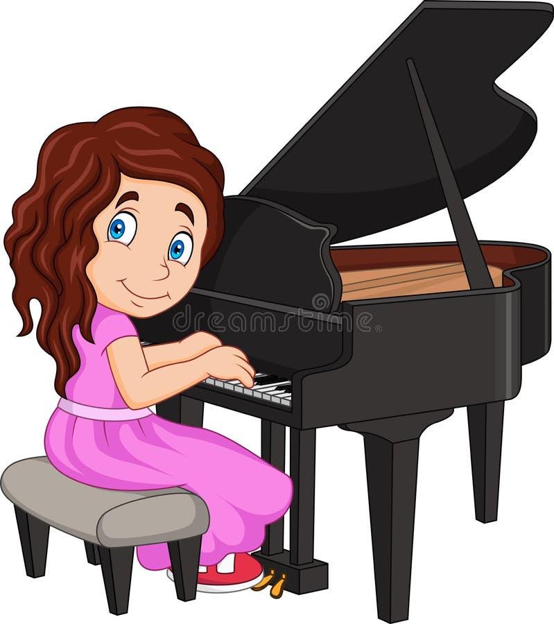 Tecknad filmliten flicka som spelar pianot royaltyfri illustrationer
