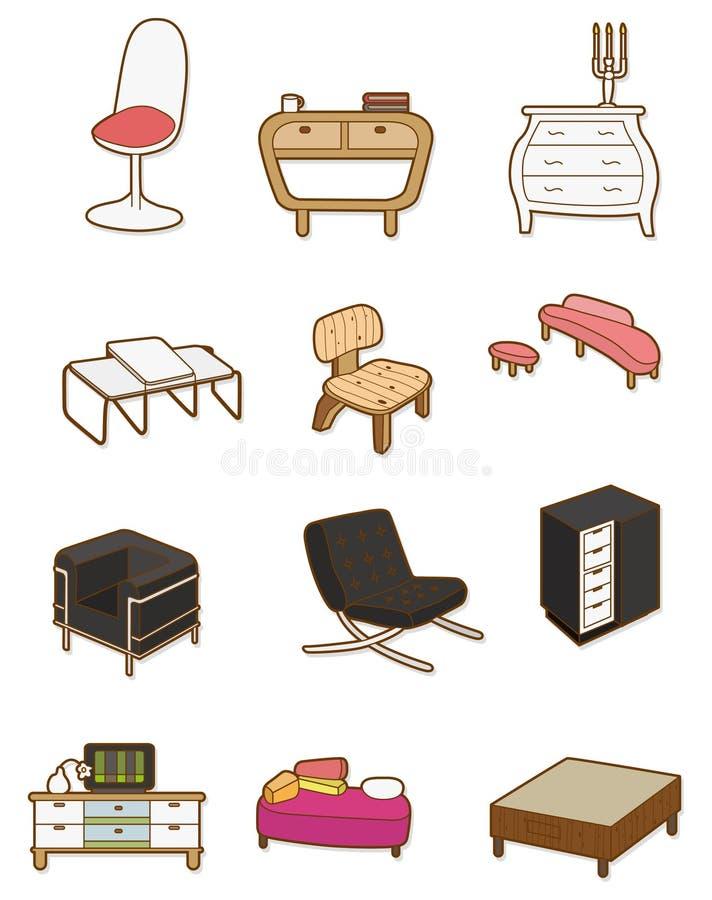 tecknad filmmöblemangsymbol royaltyfri illustrationer