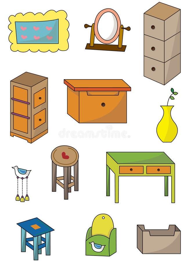 tecknad filmmöblemangsymbol stock illustrationer