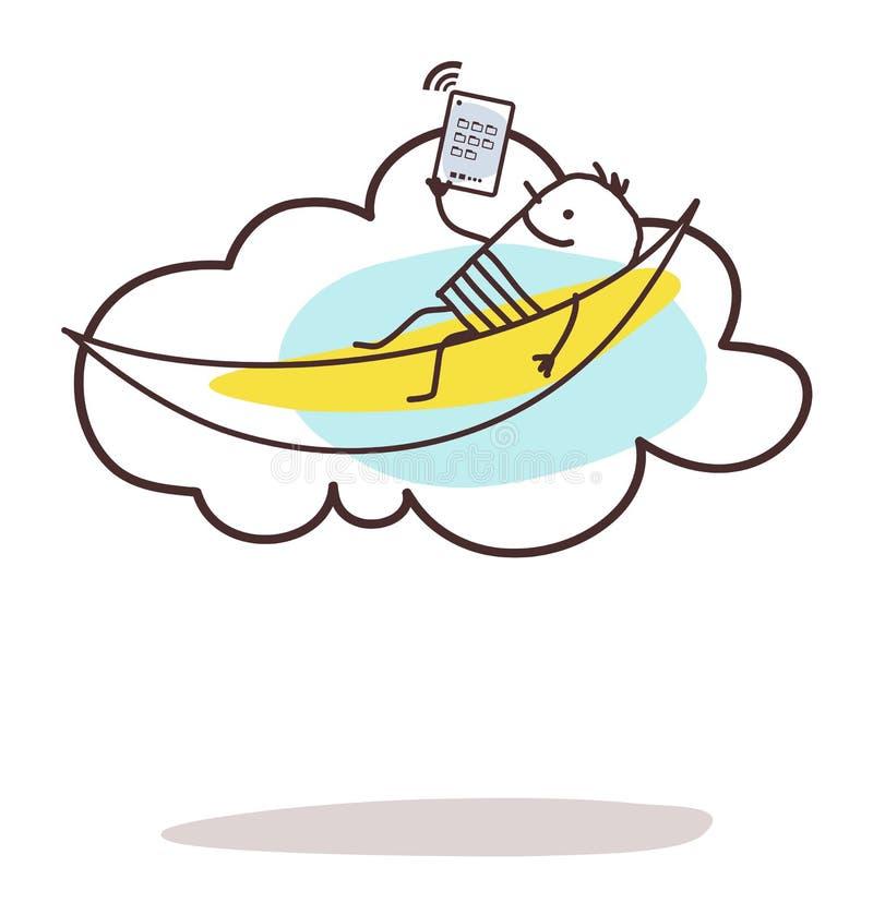 Tecknad filmman förbindelse och som kopplar av på molnet vektor illustrationer