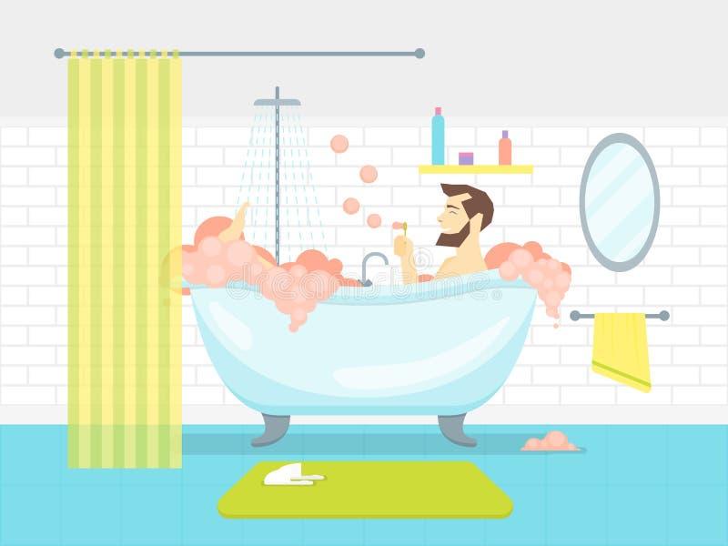 Tecknad filmman i badrumbadkar med skumkortaffischen vektor royaltyfri illustrationer