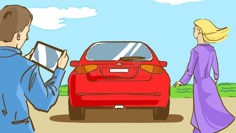 Tecknad filmman, kvinnan och den röda bilen som är utomhus- i vårdag stock illustrationer