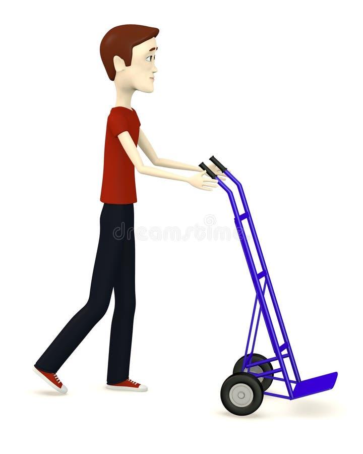 Tecknad filmman med den lilla lastbilen stock illustrationer