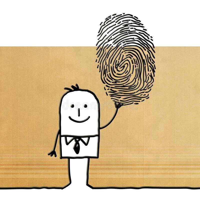 Tecknad filmman med det stora fingeravtrycket stock illustrationer