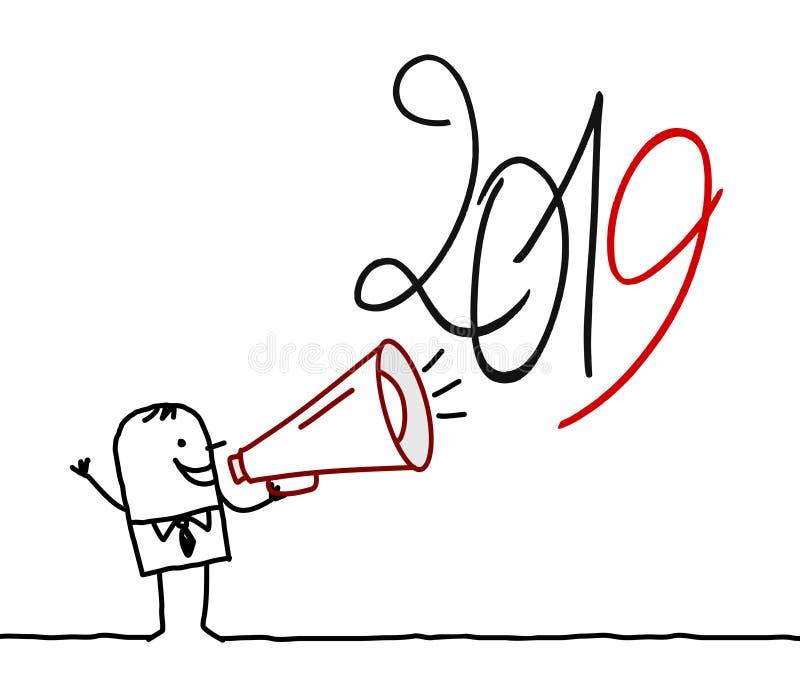 Tecknad filmman med megafonen och tecken 2019 royaltyfri illustrationer