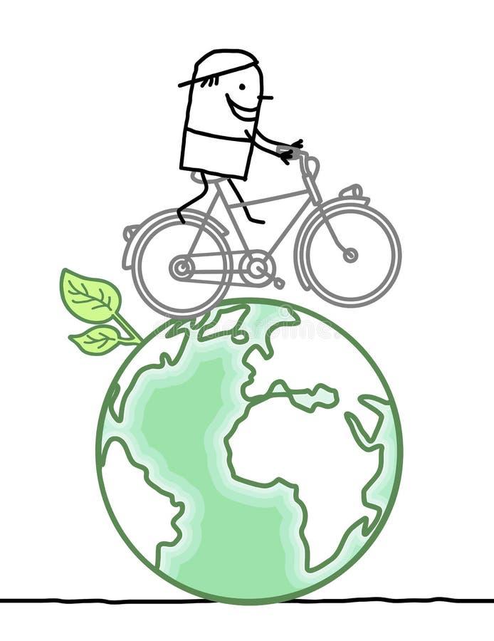 Tecknad filmman och cykel på jord stock illustrationer