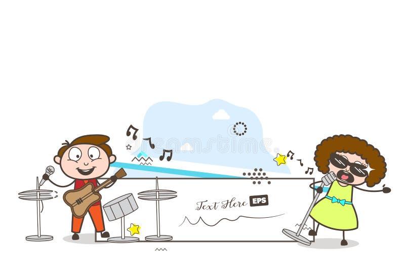 Tecknad filmman och kvinnlig sångare Singing i konsertvektor royaltyfri illustrationer