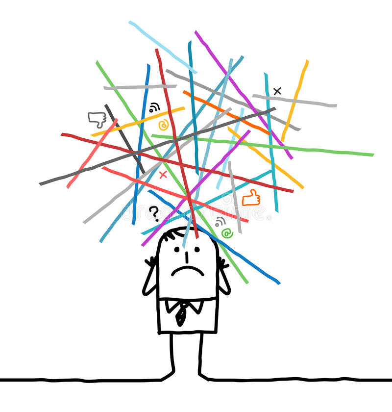 Tecknad filmman som är borttappad i överlastade nätverk vektor illustrationer