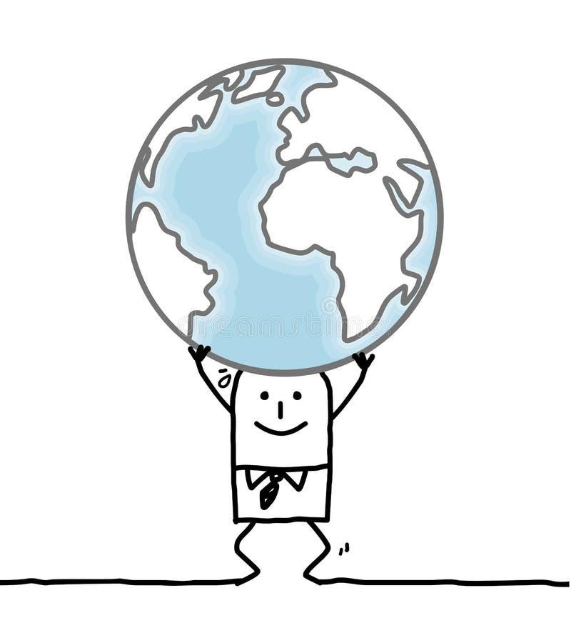 Tecknad filmman som bär jorden stock illustrationer