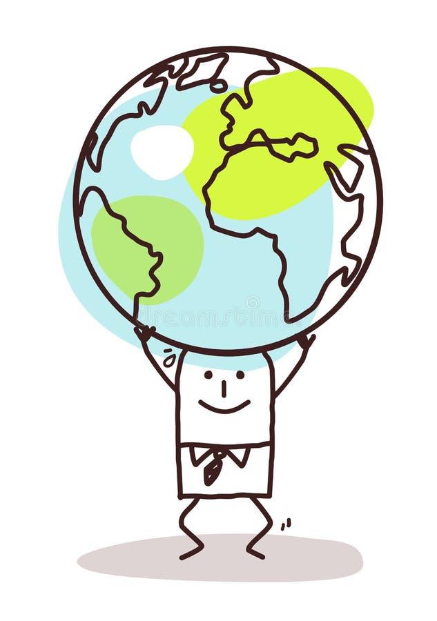 Tecknad filmman som bär jorden på hans huvud vektor illustrationer