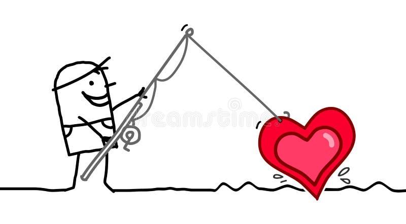 Tecknad filmman som fiskar en stor hjärta royaltyfri illustrationer