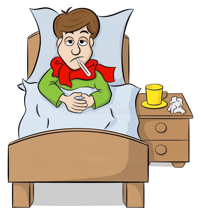 Tecknad filmman som ligger i säng med feber royaltyfri illustrationer