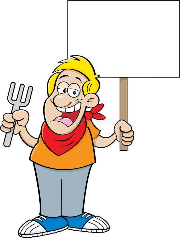 Tecknad filmman som rymmer en gaffel och ett tecken vektor illustrationer