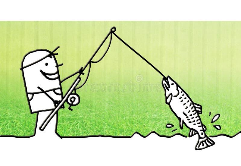 Tecknad filmman som upp väljer en stor fisk vektor illustrationer