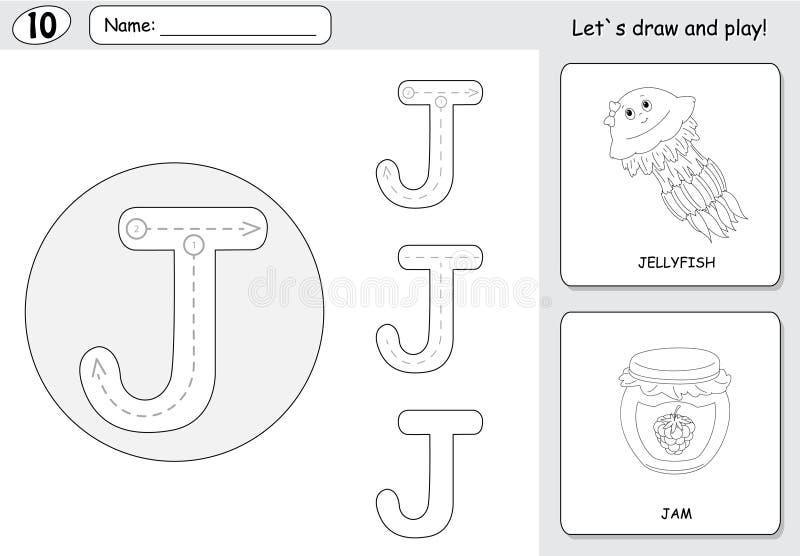 Tecknad filmmanet och driftstopp Spårande arbetssedel för alfabet: skriva A vektor illustrationer