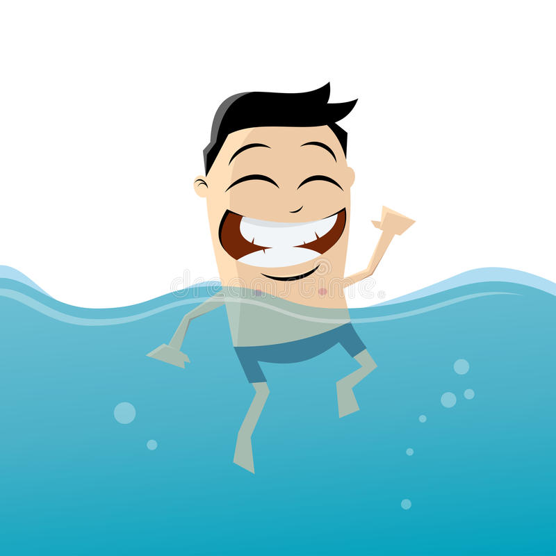 Tecknad filmmannen simmar stock illustrationer
