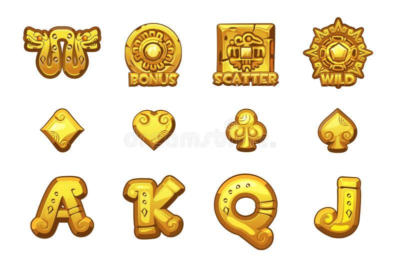 Tecknad filmMAYA Slots guld- symboler Forntida mexicanska mytologivektorsymboler Modig kasino, springa, UI stock illustrationer