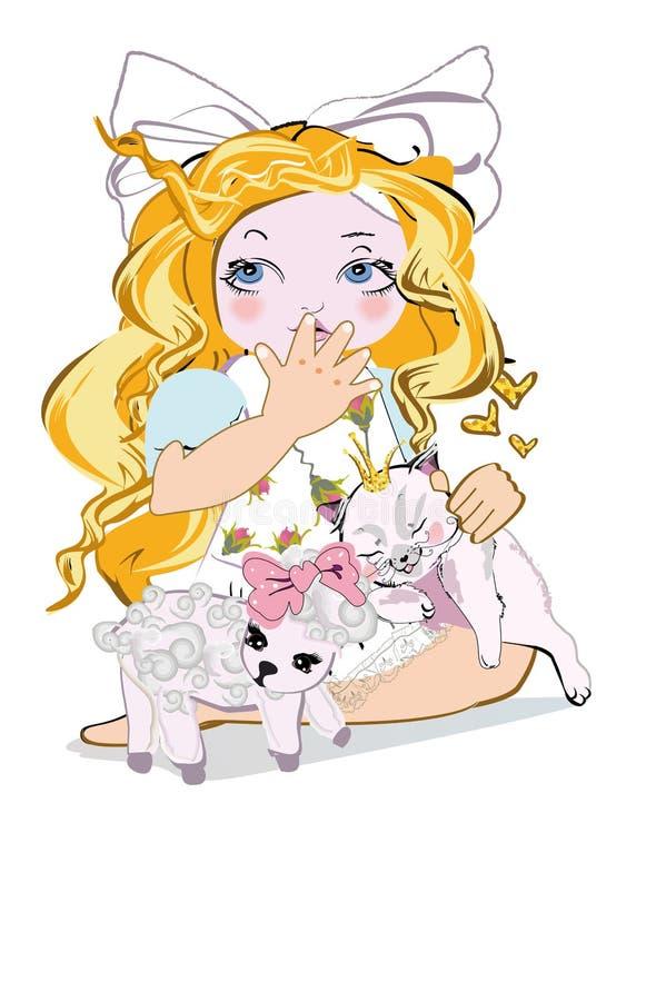 Tecknad filmmodeliten flicka med en pilbåge och hennes katt och ett lamm royaltyfri illustrationer