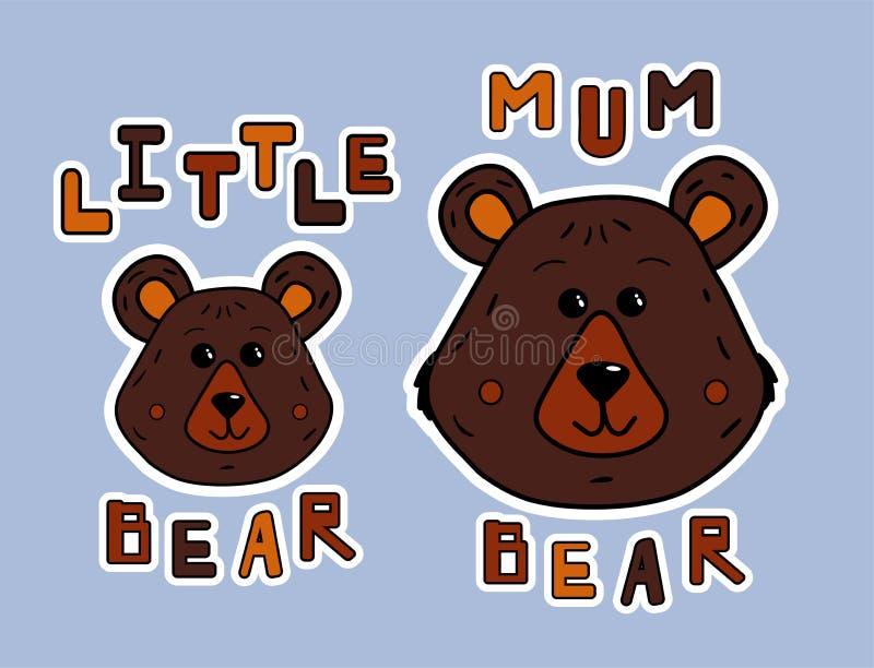 Tecknad filmmoderbjörn och liten björn Klistermärke- eller trycksnobbskjorta Gulliga djur och funy bokstäver Vektorillustration f stock illustrationer