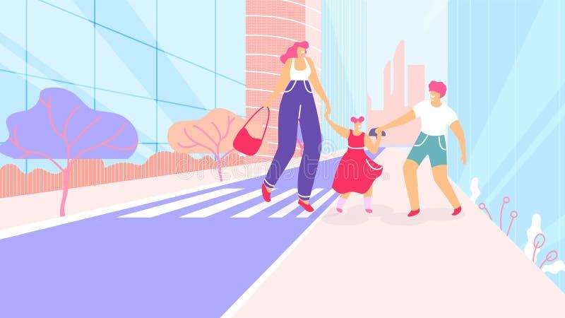 Tecknad filmmodern med barn går på övergångsstället vektor illustrationer