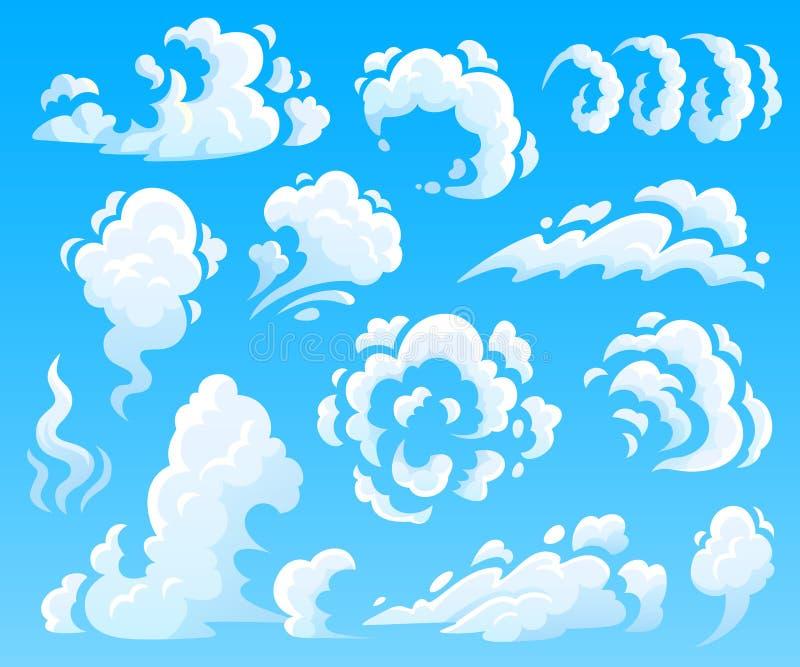 Tecknad filmmoln och rök Dammmoln, snabba handlingsymboler Isolerad illustrationsamling för himmel vektor vektor illustrationer