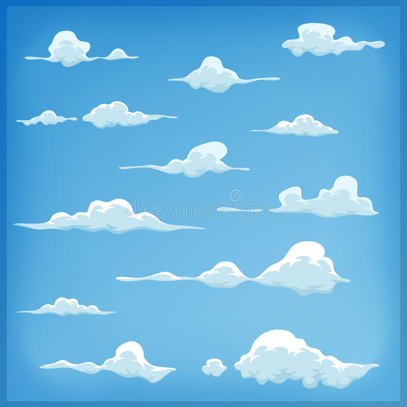 Tecknad filmmolnuppsättning på bakgrund för blå himmel royaltyfri illustrationer