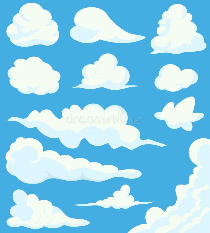 Tecknad filmmolnuppsättning på bakgrund för blå himmel Illustrationen av en samling av den olika vektortecknade filmen fördunklar vektor illustrationer