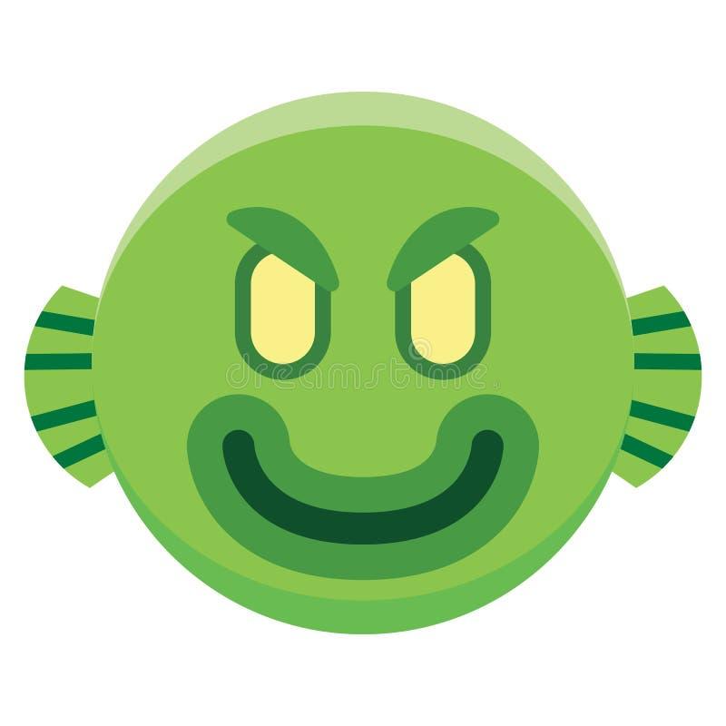 Tecknad filmmonster Emoji som isoleras på vit bakgrund stock illustrationer