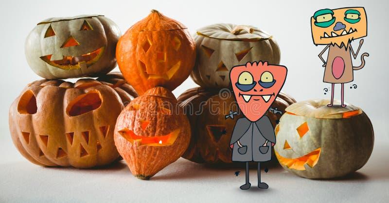 Tecknad filmmonster som står med halloween pumpor vektor illustrationer