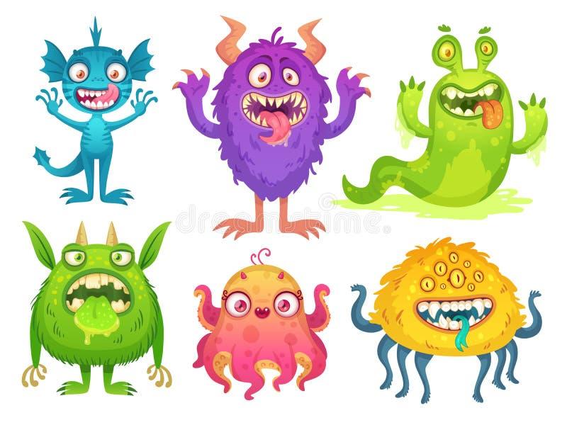 Tecknad filmmonstermaskot Roliga monster för allhelgonaafton, bisarrt smådjävult som orsakart fel med horn- och päls- skapelser T vektor illustrationer