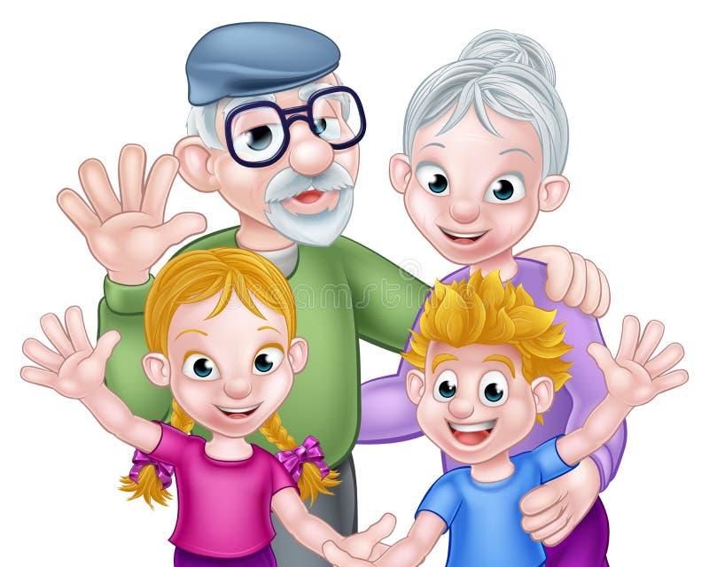 Tecknad filmmorföräldrar och barnbarn stock illustrationer