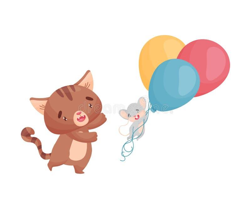Tecknad filmmus och katt med ballonger white f?r vektor f?r bakgrundsillustrationhaj royaltyfri illustrationer